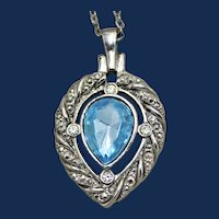 Vintage Avon Silver Tone Heart Shaped Charm with One Large Tear Drop Rhinestone