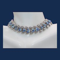 Vintage Signed Trifari Silver Tone Necklace with Peacock Blue Rhinestones