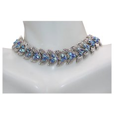 Vintage Signed Trifari Silver Tone Necklace with Blue Aurora Borlealis Rhinestones