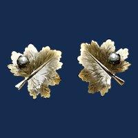 Vintage Sarah Coventry Oak Leaf & Faux Pearl Clip-on Earrings