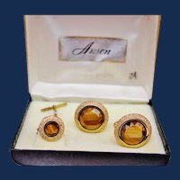 Anson Gold Tone Cufflink and Tie Pin with Tiger Agate