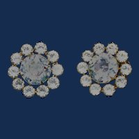 Vintage Weiss Clear AB Clip-on Earrings