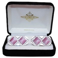 Unsigned Silvertone pyramid  Pink Satin Moonstones Cufflinks