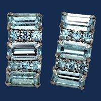 Vintage Light Blue Rhinestone Clip-on Earrings