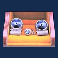 Vintage Rivoli Mesh Cufflinks & Tie Pin Set