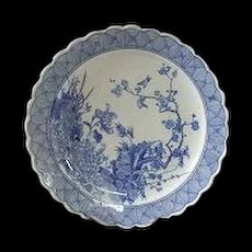"Fabulous! Antique, 19 c., Japanese Arita  Blue and White Porcelain Charger LARGE-15"" -free shipping"