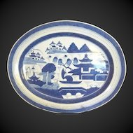 "Fabulous Chinese Export CANTON  LARGE  Deep PLATTER Blue and White , 18 1/2"" x 15"", 19th c.,"