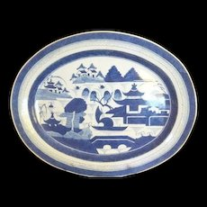 "Fabulous Chinese Export CANTON  LARGE  Deep PLATTER Blue and White , 18 1/2"" x 15"", 19th c., Free shipping"