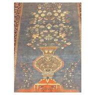 RARE Ice/Sky BLUE & Coral -Fine  SAROUGH TREE OF LIFE Persian Oriental Rug, Wall Hanging  4'x 6' -Free Shipping