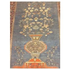 RARE Ice/Sky BLUE & Coral -Fine  SAROUGH TREE OF LIFE Persian Oriental Rug, or Wall Hanging  4'x 6' -Free Shipping