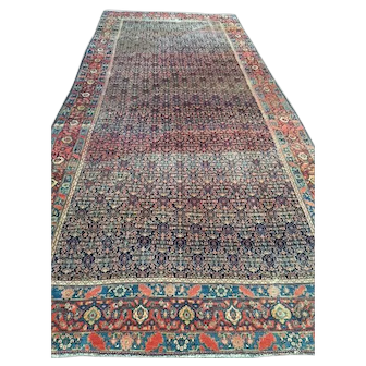 "ca. 1900 Persian SENNAH Oriental Rug, Overall Design  Blue, Cream & Coral  ca. 1880,  6'4"" X 15'3""-Long & Narrow, Reduced! Free Shipping"