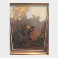 "19th c. European Hunting Scene Oil on Canvas Painting of hunter with deer, 29"" X 23"" Framed"