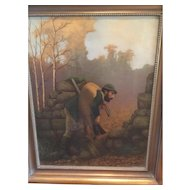 "19th c. European Hunting Scene Oil on Canvas Painting of hunter with deer-Great for that Masculine Decor in beautiful colors, brushed gold frame with beading, 29"" X 24"""