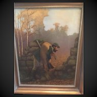 """19th c. European Hunting Scene Oil on Canvas Painting of hunter with deer, 2'6"""" X 2' FRAME ,  2' X 1'8"""" CANVAS"""