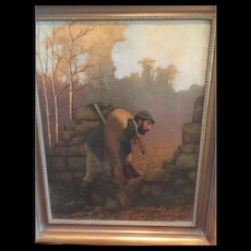 """19th c. European Hunting Scene Oil on Canvas Painting of hunter with deer-Great for that Masculine Decor in beautiful colors, brushed gold frame with beading, 29"""" X 24"""""""