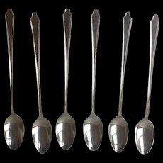 "Vintage 1847  Roger Brothers LEGACY Pattern Silver Plate rare 6  Ice Tea Spoons, 6"" long, Perfect for monogramming,  Free shipping"