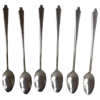 """Vintage 1847  Roger Brothers LEGACY Pattern Silver Plate rare 6  Ice Tea Spoons, 6"""" long, Perfect for monogramming,  Free shipping"""