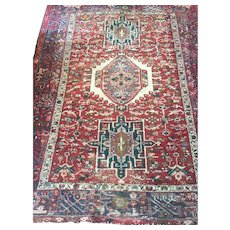 Geometric Persian HERIZ Oriental Rug, hand woven using fine Wool dyed with natural vegetable dyes and cotton foundation, unusual size: 5' x 6'5""
