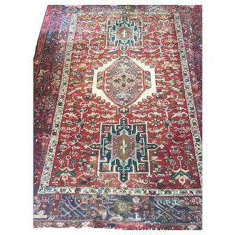 """Geometric Persian HERIZ Oriental Rug, hand woven using fine Wool dyed with natural vegetable dyes and cotton foundation, unusual size: 5' x 6'5"""""""