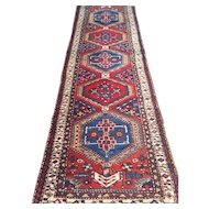 "Geometric Persian Serab Oriental Rug Runner with medallions. Handmade of wool on cotton foundation with vegetable dyes-size: 3'5"" x 11'6"""