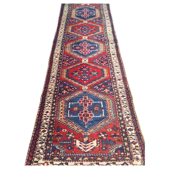 """Geometric Persian Serab Oriental Rug Runner with medallions. Handmade of wool on cotton foundation with vegetable dyes-size: 3'5"""" x 11'6"""""""