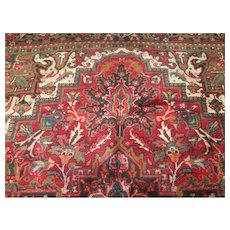 "Beautiful Handmade Persian Heriz Oriental Rug, approx. 10'4""'x 8' vegetable dyes, wool on cotton foundation"