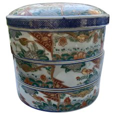 RARE Large Antique Chinese Porcelain IMARI Stacked Presentation Rice Bowls Set, 19th c.