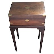 Antique Writing Box with brass corner edges,  Lap Top Desk on Stand