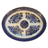 "Chinese Export FITZHUGH Blue & White  Porcelain deep Platter ca.1840, Size: 10 1/2"" x 13 1/2"""