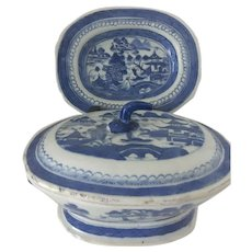 Chinese Export CANTON Blue and White covered Tureen and Platter Small