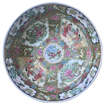 Large Chinese Export Famille Rose Medallion Bowl 19th c.Punch Bowl size