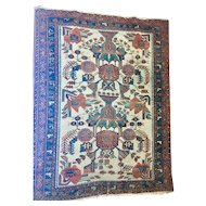 Beautiful Persian Handmade Oriental Rug of wool on cotton foundation Cream Field, free shipping