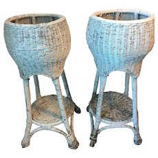 Pair of Antique Wicker Fern Plant Stands