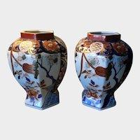 Pair of Beautiful Japanese Porcelain Octagon Shape VASES  Imari Design drilled for Lamps