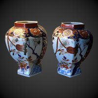 Pair of Beautiful Japanese Porcelain Octagon Shape VASES  Imari Design drilled for Lamps