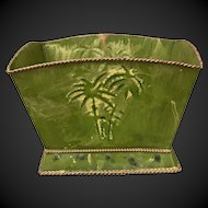 Painted Old Tole Tin Planter Embossed with Palm Trees and Gold Roping