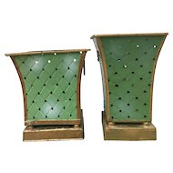 Tole Tin Planters 2- Woven Green with Pierced Diamond Design Gold Trim, Ball Feet and Base