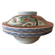 Large Japanese Imari Covered Rice Bowl