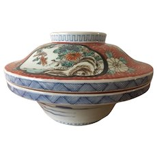 Large Japanese Imari Covered Rice Bowl