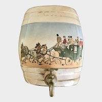 English Staffordshire PORT Spirit Flagon Barrel  with Western style Horse and Carriage/ Stage Coach theme