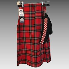 Stewart Royal Tartan KILT Ben Nevis Co.,  diced Glengarry Bonnet and Kilt Pen 3 pieces