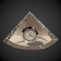 Clear Crystal and silver Triangular CLOCK  by Shannon