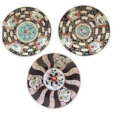 """Three old Japanese Imari 10"""" plates"""