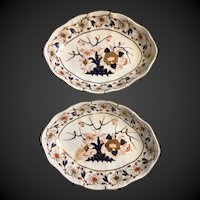 CROWN STAFFORDSHIRE oval plates in OLD DERBY pattern ready to hang