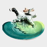 Porcelain ENGLISH SETTER Dog Figure on Dish/Ashtray
