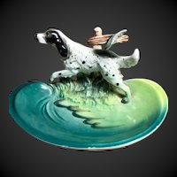 Porcelain ENGLISH SETTER Dog Figure on Dish