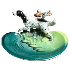 Porcelain ENGLISH SETTER Dog Figure on Dish/Ashtray