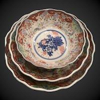 "Nest of 3 Antique Japanese Imari lobed bowls  5"",  6"",  7 1/4"""
