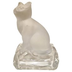 Lalique style frosted crystal glass  CAT on stand
