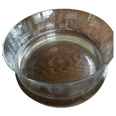 """Stunning Crystal glass etched Large 10"""" round  and  4 1/2"""" high Bowl including 1 1/2"""" base"""